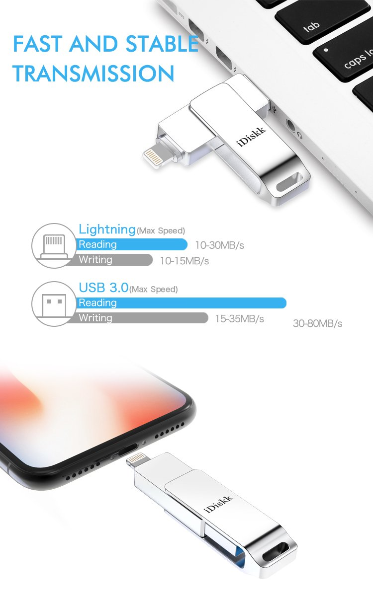 iDiskk MFI 64 GB USB Flash Drive for iPhone and iPad Storage Memory USB Stick with Lightning Connector Compatible to iOS iPhone XS,iPhone X,iPad mini,iPad air,Mac and Computers