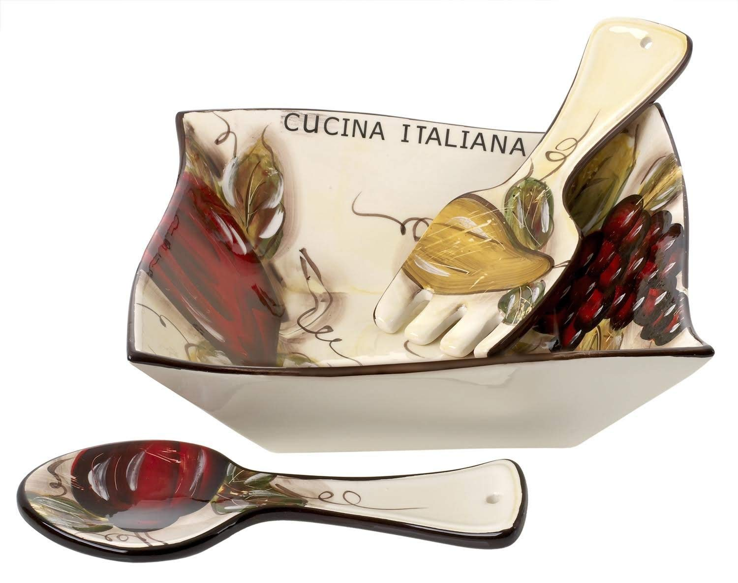 Cucina Italiana Ceramic Large Salad Pasta Serving Bowl with Servers Square 60 Oz 10 x 10 Inches Soft White