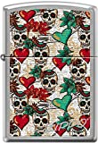 Zippo Tattoo Art Skulls and Hearts, Goth, Satin Chrome WindProof Lighter