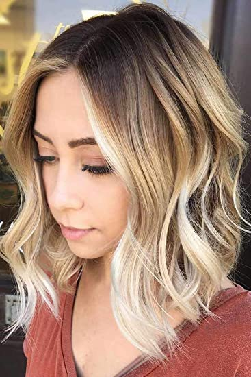 Amazon Com Short Curly Ombre Blonde Bob Hair Wigs For Women