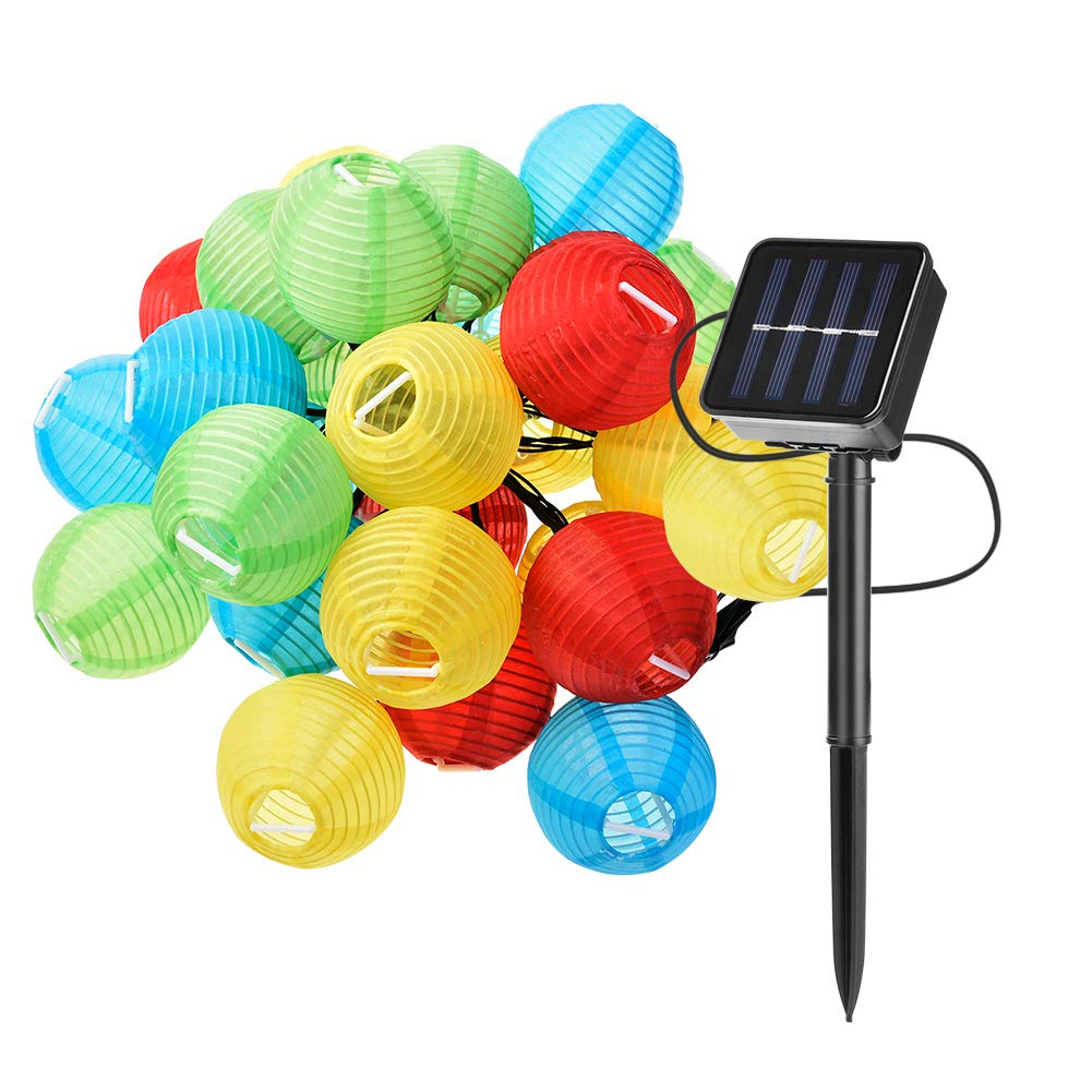 WZTO Solar Lichterkette Bunte 6M / 19.6 ft 30 LED Wasserdicht Solarleuchten Garten Abenddämmerung bis zum Morgengrauen Auto AUF/AUS Dekorative Hängenden Solarlaterne für Außen Garten Haus Rasen
