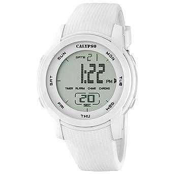 Calypso hombre-reloj deporte digital PU-pulsera cuarzo-reloj esfera blanco UK5698/1: Calypso: Amazon.es: Relojes