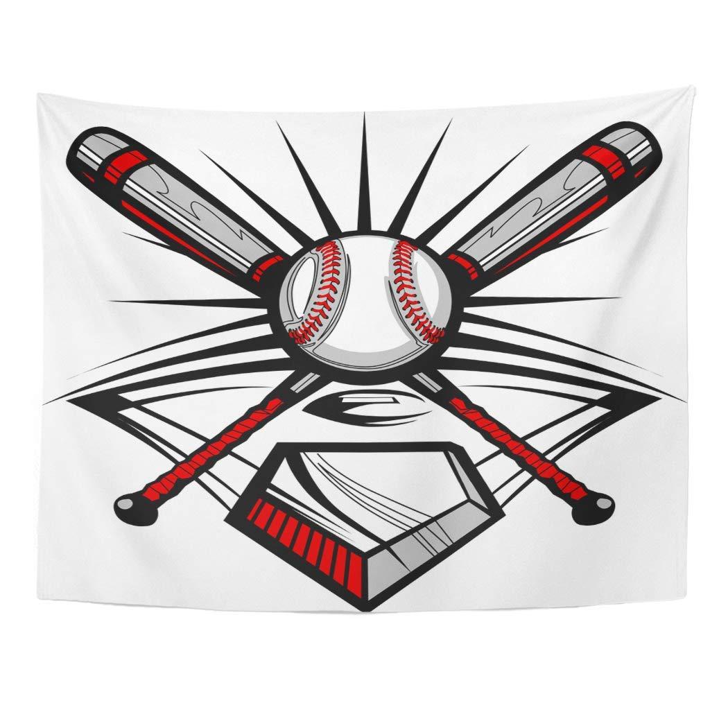Art Decor Wall Softball Baseball Bats and Ball Graphic Plate