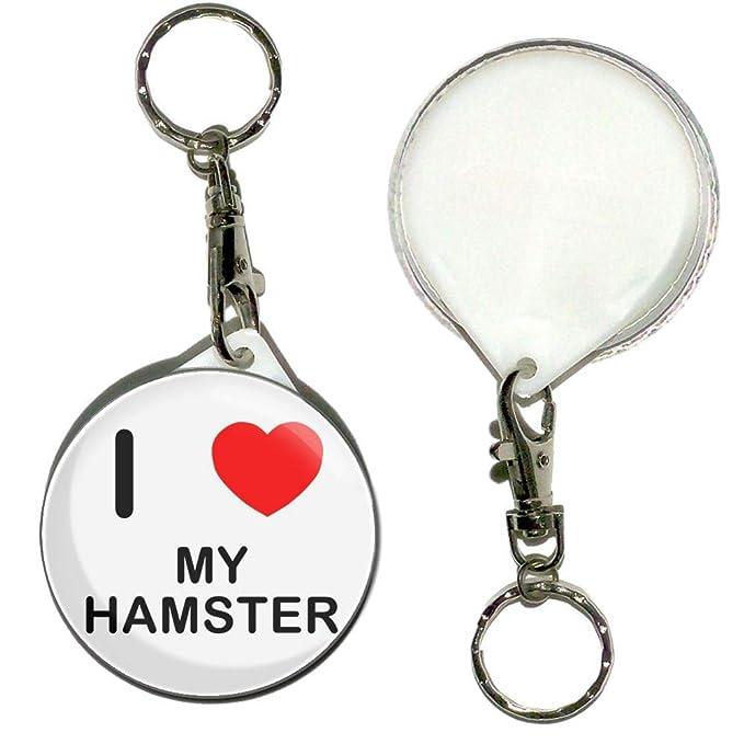 Amazon.com: I Love My Hamster – Llavero de insignia de botón ...