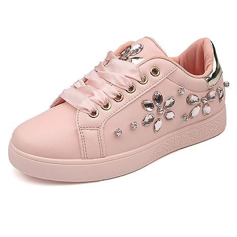 GUNAINDMX Perla de Cuero Suave Rhinestone Mujeres Zapatos Mocasines Zapatillas de Fiesta Zapatos de Mujer Alpargatas