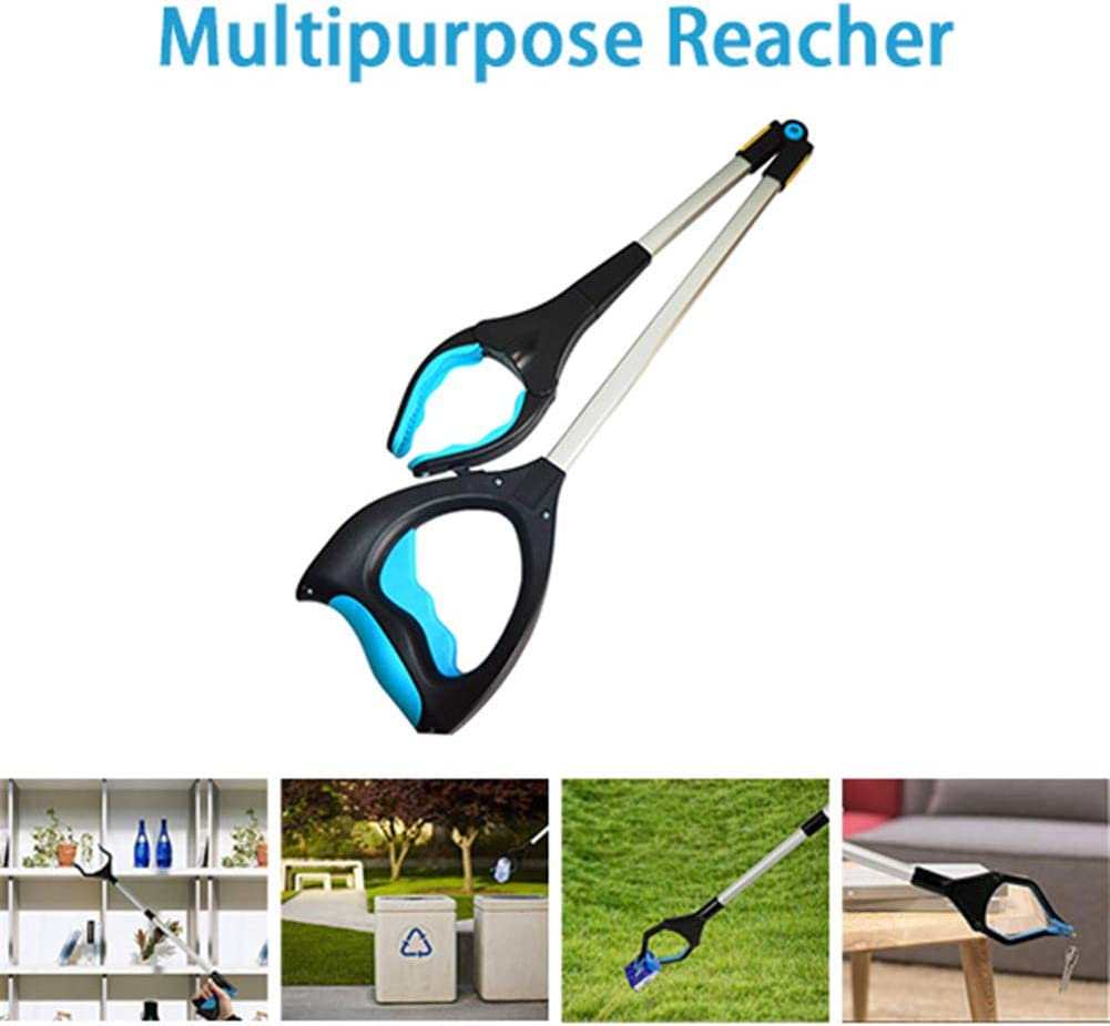 Lightweight Aluminum Reaching Aid with Rotating Rubber Gripper Hihey m/üllzange 37-Zoll Foldable Pickup Tool