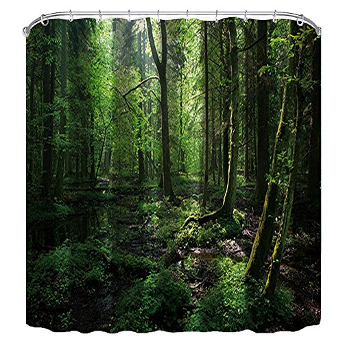 - NYMB Tropical Swamp Rainforest Scenery Decor, Wooden Trees in Summer Forest Shower Curtain 69X70 inches Polyester Fabric Bath Fantastic Decorations Bath Curtain Hooks Included