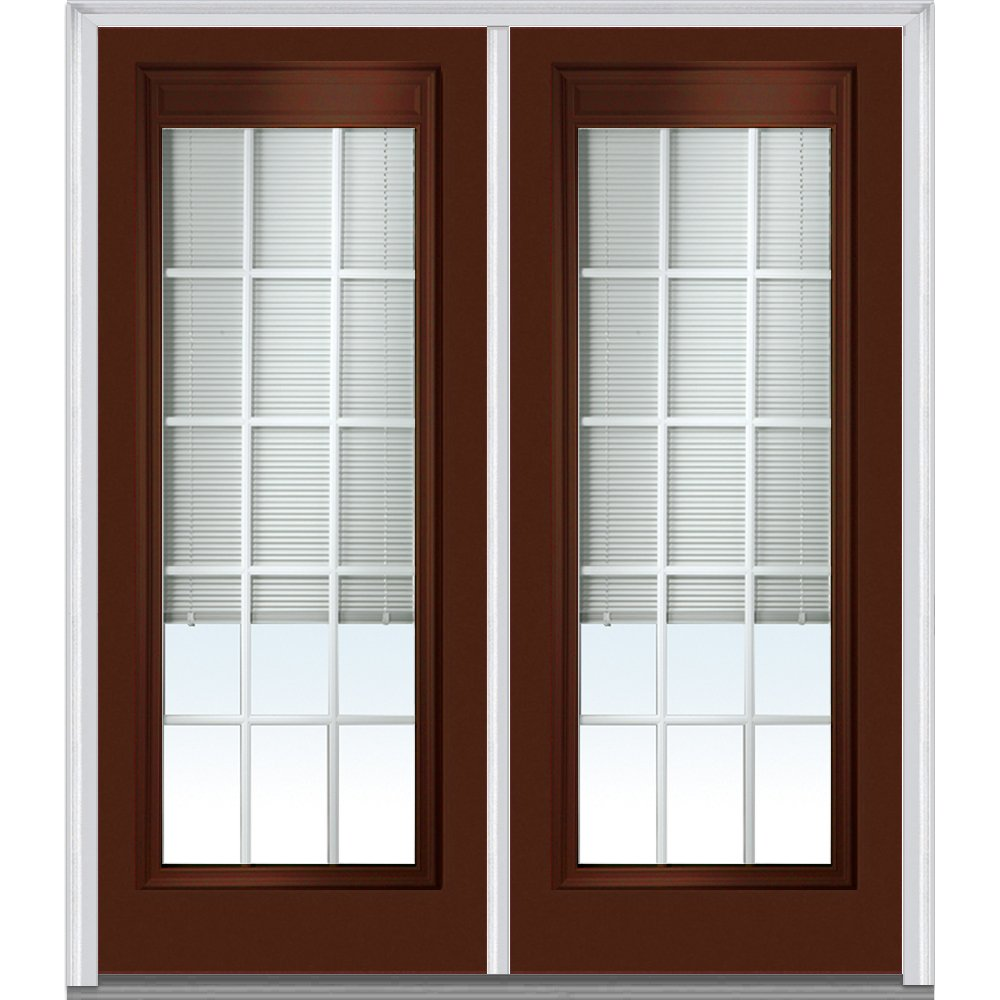 National Door Company Z010557L Steel Redwood, Left Hand In-swing, Prehung Door, Full Lite, Clear Low-E Glass with RLB and GBG, 64'' x 80''