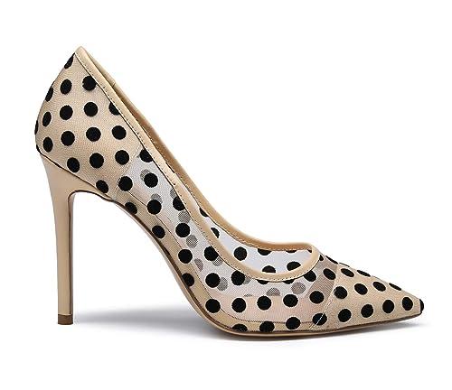 c8c8c0d86f5ac SUNETEDANCE Womens Slip On Pumps Comfort Classic High Heels Pointy Toe Sexy  Elegant Stiletto Heels 10CM Heel Shoes