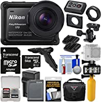 Nikon KeyMission 170 Wi-Fi Shock Waterproof 4K Video Action Camera Camcorder + Mounts + 64GB Card + Battery + Case + Diving LED + Grip & Tripod Kit