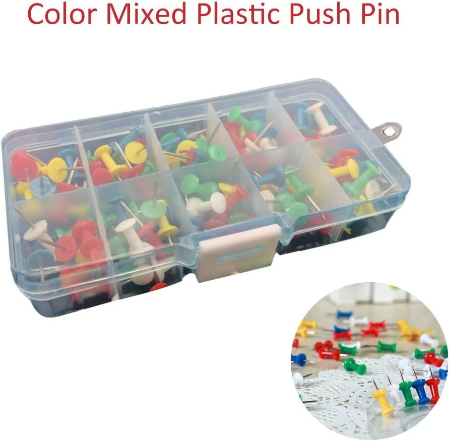 zhaokai 100 Pieces Notice Board Push Pins Plastic Push Pins for Cork Board with Plastic Heads and Steel Points Multi Colored in A Box Perfect for Office Boards, Maps and Decorations