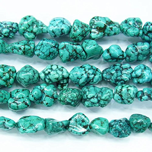 (TheTasteJewelry 10-16mm Nugget Natural Green Turquoise Beads 15 inches 38cm Jewelry Making Necklace Healing -)