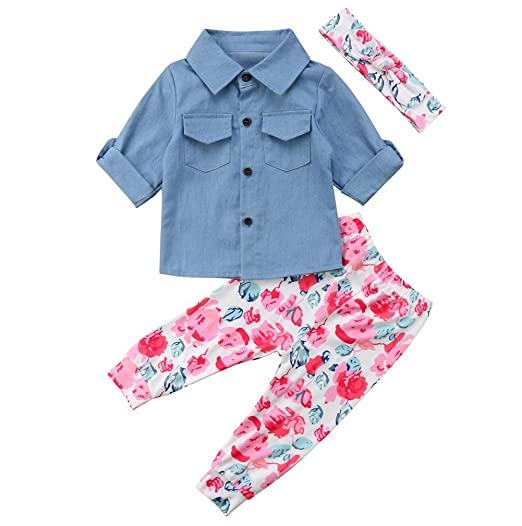 13f1995f8 Infant Kids Baby Girls Outfits Set Polo Neck Button Down Denim Shirt Blouse+Floral  Pants