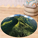 VROSELV Custom carpetApartment Decor Aerial View of Jungle Forest on the Mountains Tropical Exotic Hawaii Nature Look Bedroom Living Room Dorm Decor Green Blue White Round 79 inches
