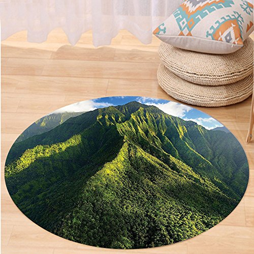 VROSELV Custom carpetApartment Decor Aerial View of Jungle Forest on the Mountains Tropical Exotic Hawaii Nature Look Bedroom Living Room Dorm Decor Green Blue White Round 72 inches by VROSELV