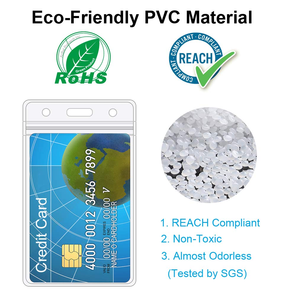 Details about ID Card Holder Clear Plastic Badge Resealable Waterproof  Business Case 10 Pcs
