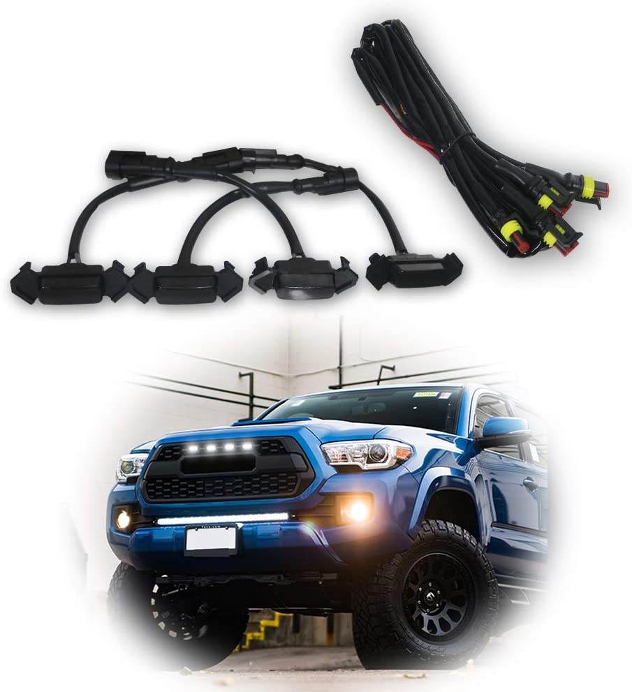 4Pcs Set Grille White LED Lights Fits For 2016-2019 Toyota Tacoma TRD With Wire