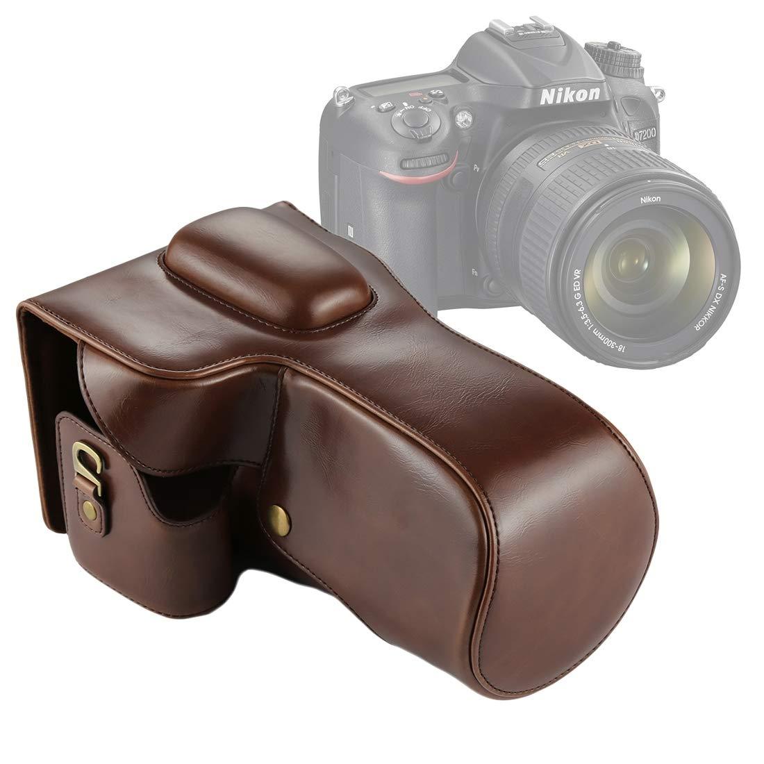 Dig ドッグボーン カメラケース フルボディカメラ PUレザーケースバッグ Nikon D7200/D7100/D7000用, ブラウン, DCA2321Z B07L9578S5 ブラウン