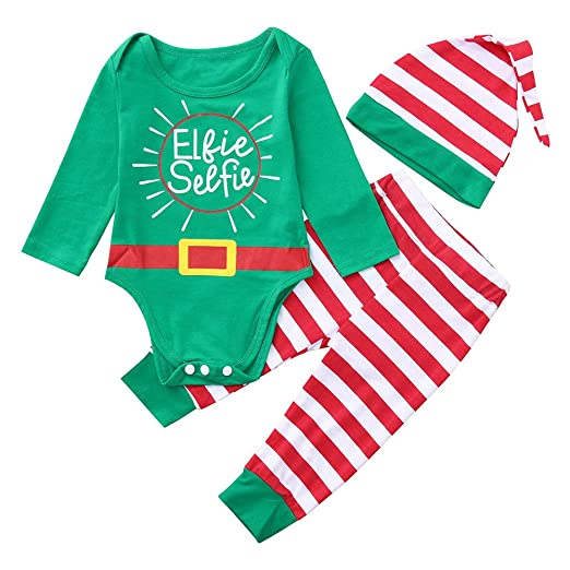 fc664b08b76a Amazon.com  Newborn Baby Boys Girls Cute Elf Outfits Costume Long Sleeve  Romper Tops Striped Pants Hat Christmas Clothes Set  Clothing