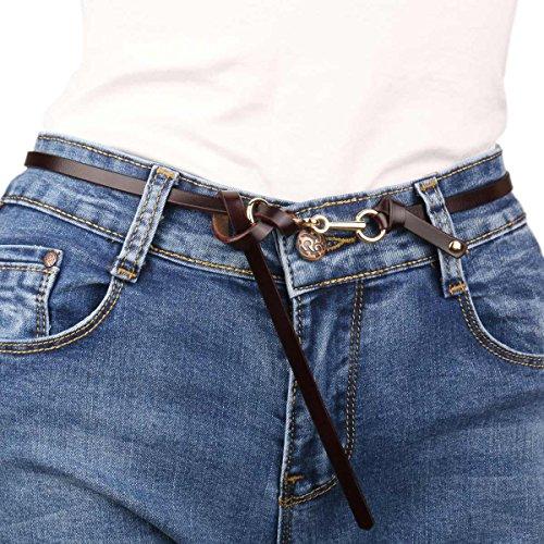 Jeans Dress Wrap Damara Donne Caffè In Slim Cintura Vera Sottile Waistbelt Delle Pelle RTIT0qH