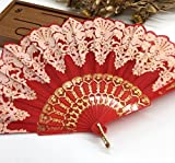 Rose Red Edge Multi-Colors Fabric Floral Plastic Sequins Peacock Lace Elegant Hand Fans Wedding Favors And Gifts Dance Fan