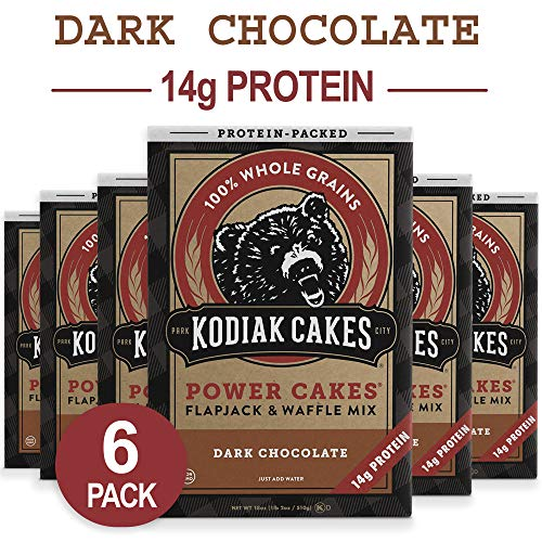 Kodiak Cakes Protein Pancake Power Cakes, Flapjack and Waffle Baking Mix, Dark Chocolate, 18 Ounce (Pack of 6)