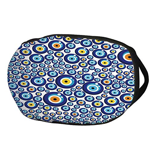 Fashion Cotton Antidust Face Mouth Mask,Evil Eye,Traditional Turkish Charm Luck Sign Pattern Vivid Bead Figures Graphic,Blue Orange Yellow,for women & men