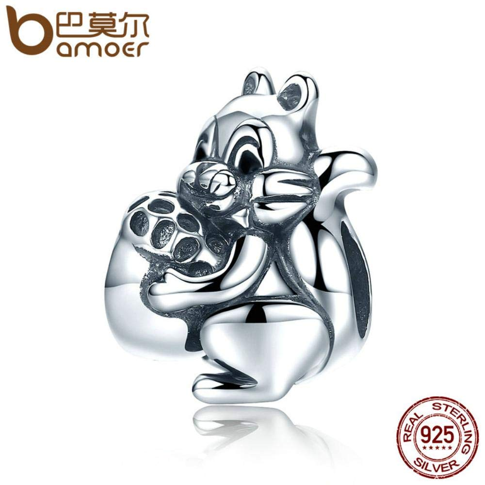 TomTomPro Genuine 925 Sterling Silver Naughty Squirrel /& Pine Nut Animal Charm Beads fit Women Charm Bracelet Jewelry Gift