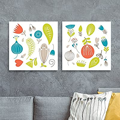 2 Panel Square Canvas Wall Art - Fresh Color Floral Patterns - Giclee Print Gallery Wrap Modern Home Art Ready to Hang - 12