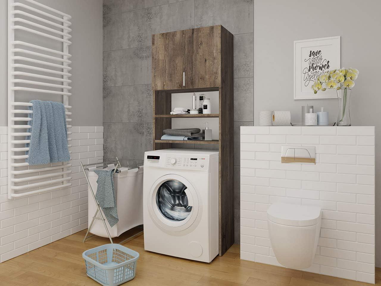 Esche Dunkel Badregal Waschmaschinenschrank Badhochschrank Badschrank Mirjan24 Badezimmerschrank f/ür die Waschmaschine Mosa