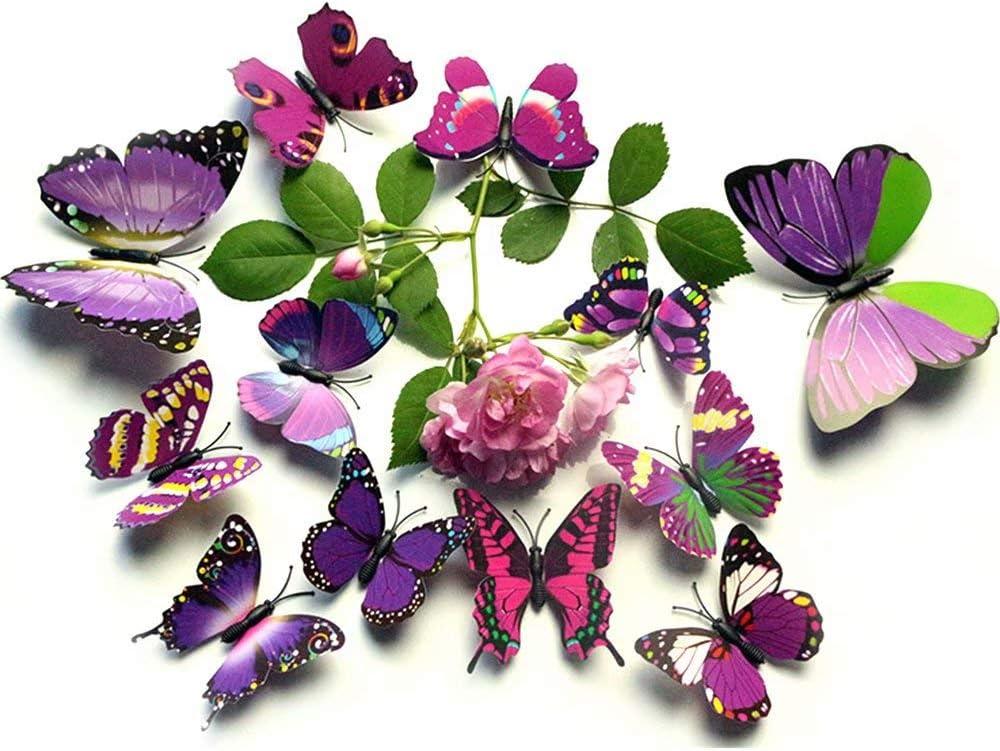 MOMDAD 3D Schmetterlinge Blumen Wandsticker Wandaufkleber Stickers f/ür T/üren Fenster 24 St/ück Wall Sticker Bunt Blau