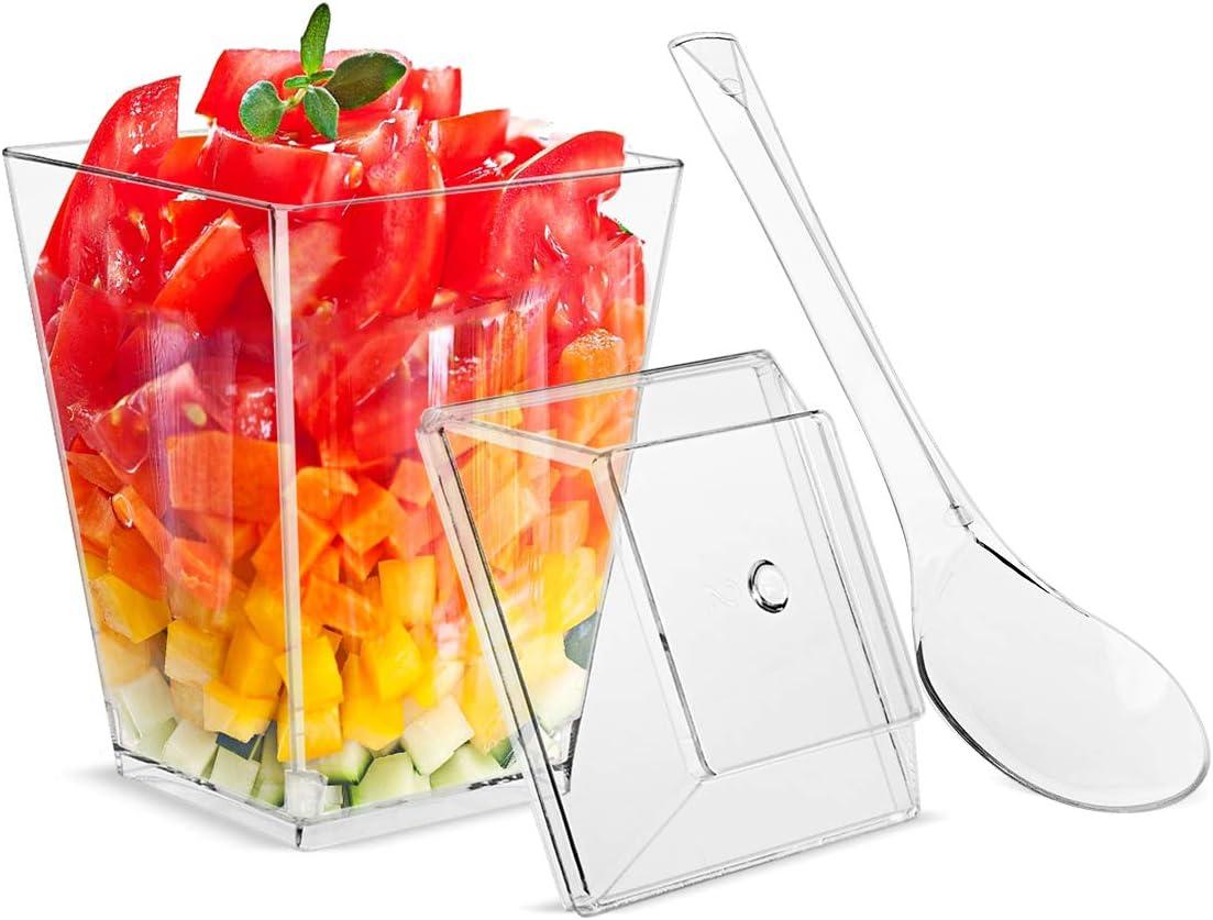 5.5oz Dessert Cups with Lids and Spoons,Plastic Clear Square Dessert Bowls Disposable Reusable Parfait Appetizer Cup-Set of 24