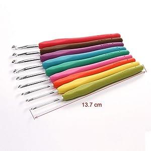 StaiBC 9 Colorful TPR Soft Plastic Handle Aluminum Knitting Knit Crochet Hooks Needles