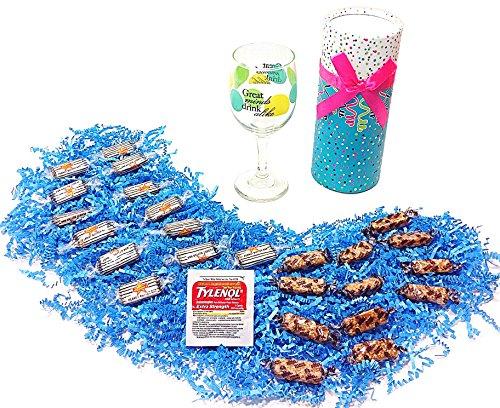 Great Minds Drink Alike Birthday Humorous Gift Pack - Peanut Butter and Joyva Sesame Crunch Candy, Wine Glass & Tylenol