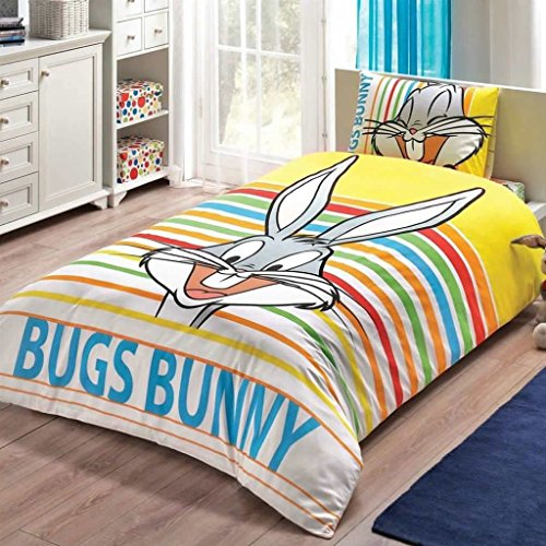 Looney Tunes - Bugs Bunny Striped 3 Pcs Twin / Single Size %100 Cotton Duvet Cover Set Bedding Linens - Looney Tunes Comforter