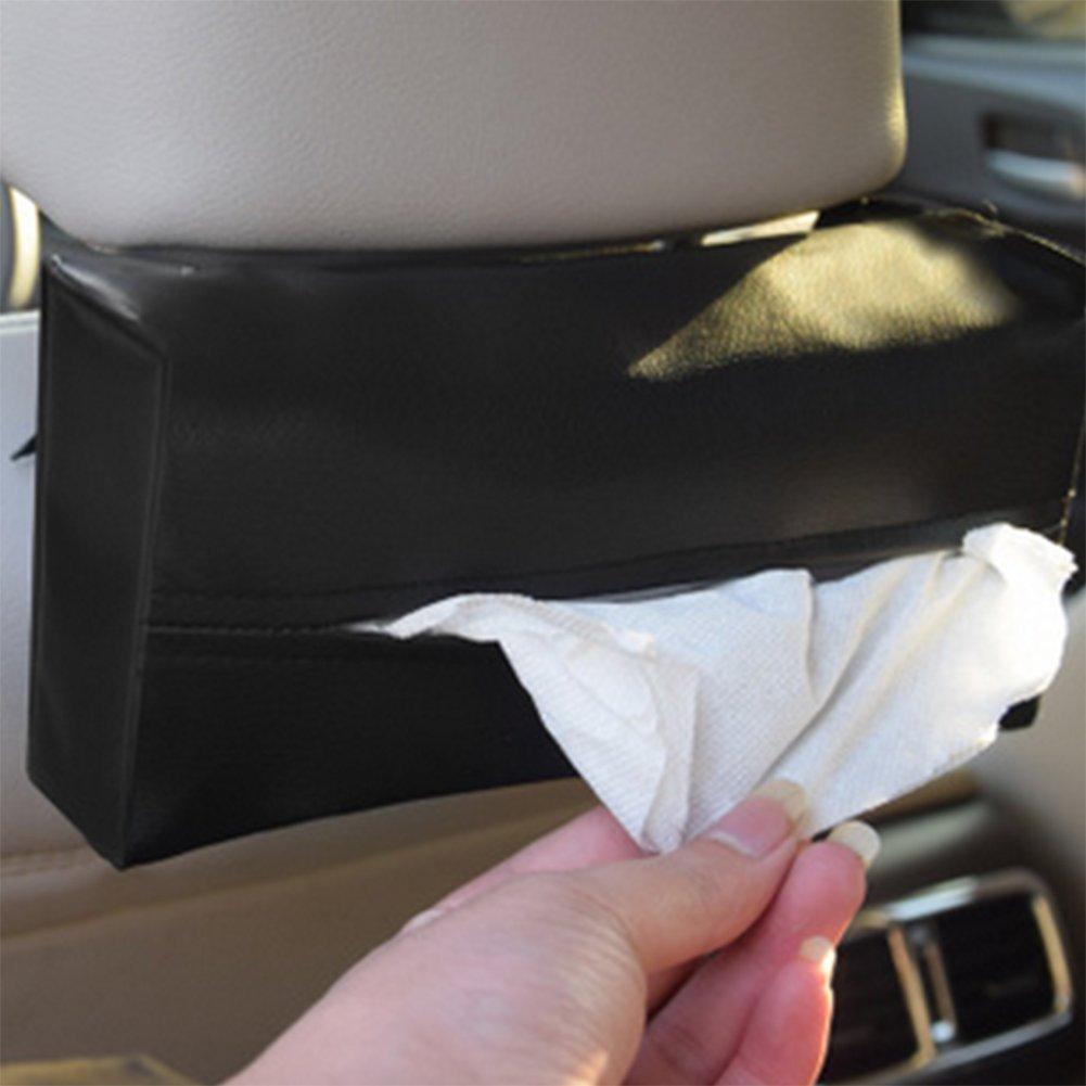 Chytaii Caja de Servilletas Caja de Pa/ñuelos Coche Parasol Caja del Tejido del Coche Cuero de la PU Caja con Cinta de Sujeci/ón Antideslizante para Parasol de Coche Negro