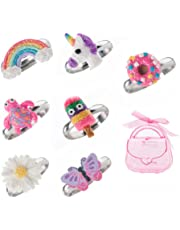 Adjustable Rings Set for Little Girls - Colorful Cute Unicorn, Butterfly Rings for Kids Made of Polymer Clay, Children's Jewelry Set of 7
