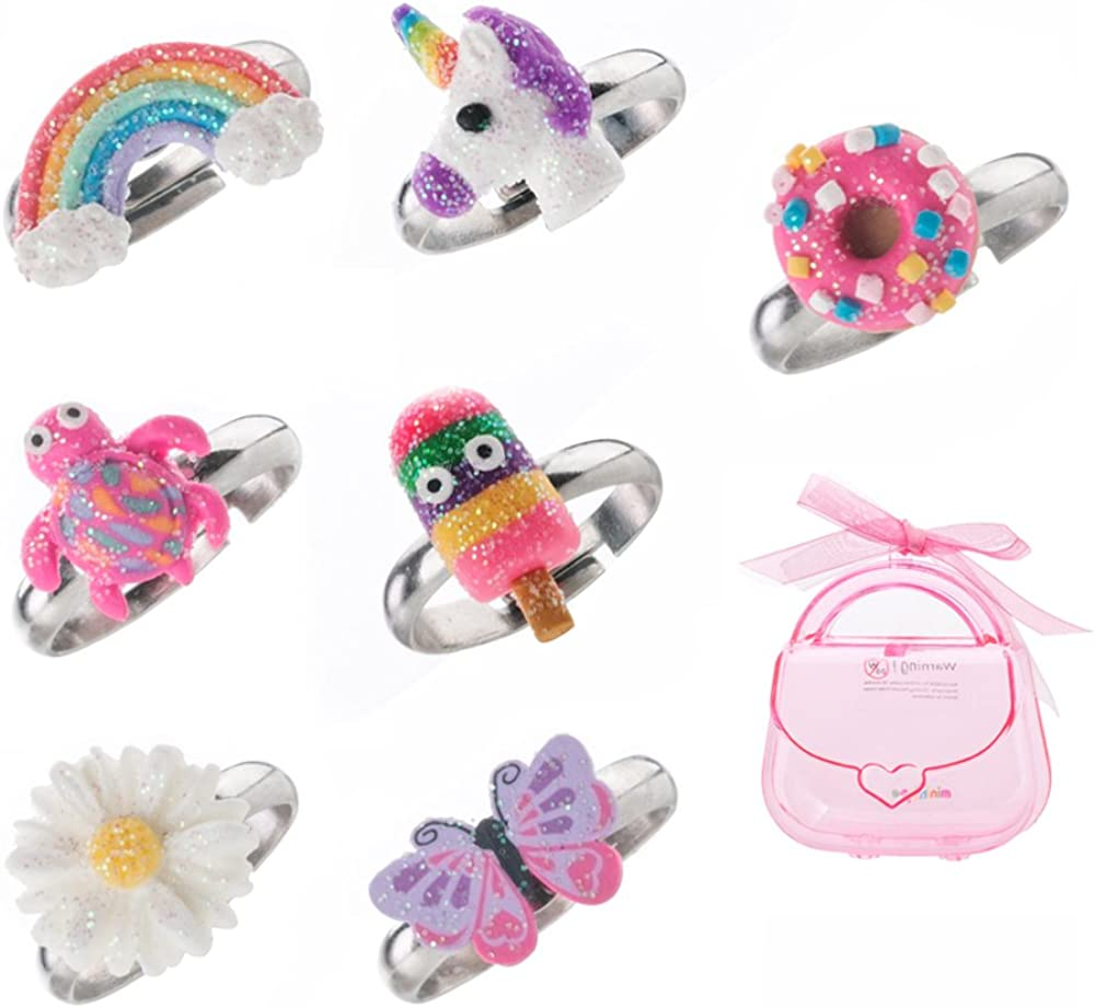 Amazon.com: minihope Adjustable Rings Set for Little Girls - Colorful Cute  Unicorn Butterfly Rings for Kids, Children's Jewelry Set of 7: minihope:  Jewelry