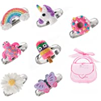 Adjustable Rings Set for Little Girls - Colorful Cute Unicorn, Butterfly Rings for Kids, Children's Jewelry Set