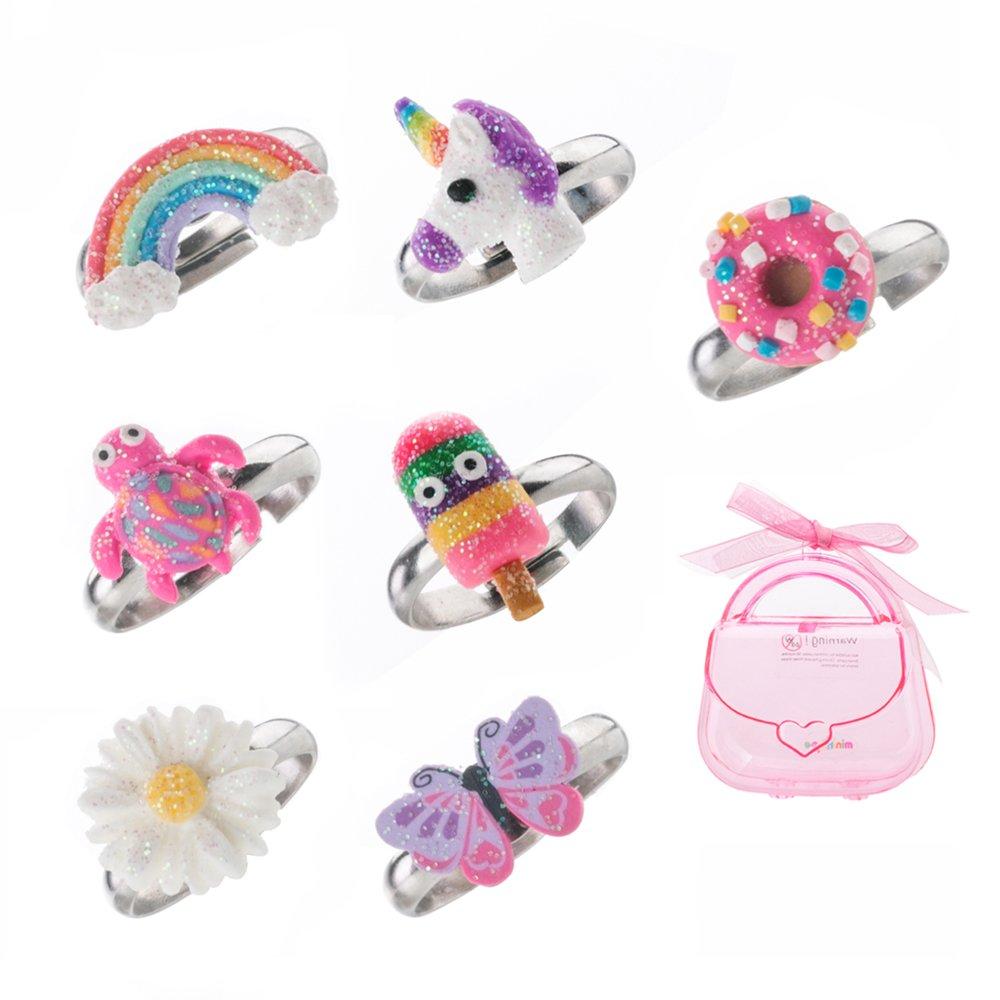 Set di anelli regolabili per bambine in argilla polimerica, con grazioso unicorno colorato, farfalla e altri, gioielli per bambini, set di 7 Ltd RN-170501