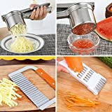 Reliabest Potato Masher Ricer, Wavy Crinkle Cutter, Peeler, and Grater Set - Stainless Steel - Make French Fries, Mashed Baby Food, Fruit and Veggie Juices Easily
