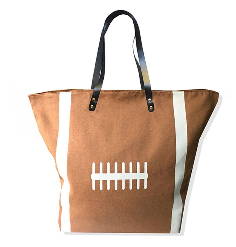 X.Sem Foldable Baseball Softball Tote Bag Canvas Oversized Beach Totes Durable Travel Handbag 22'' (American Football)