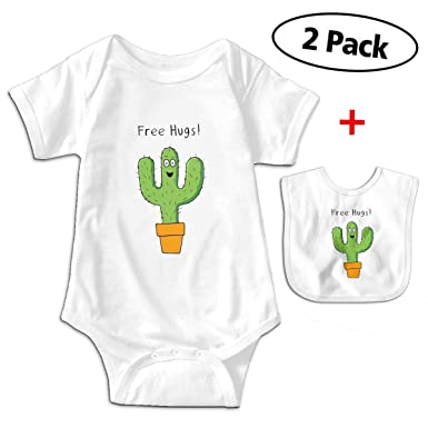a71e15ebc Amazon.com: Leopoldson Cute Hug Cactus Free Baby Bodysuits Short Sleeve  Infant One-Piece with Baby Bib: Clothing