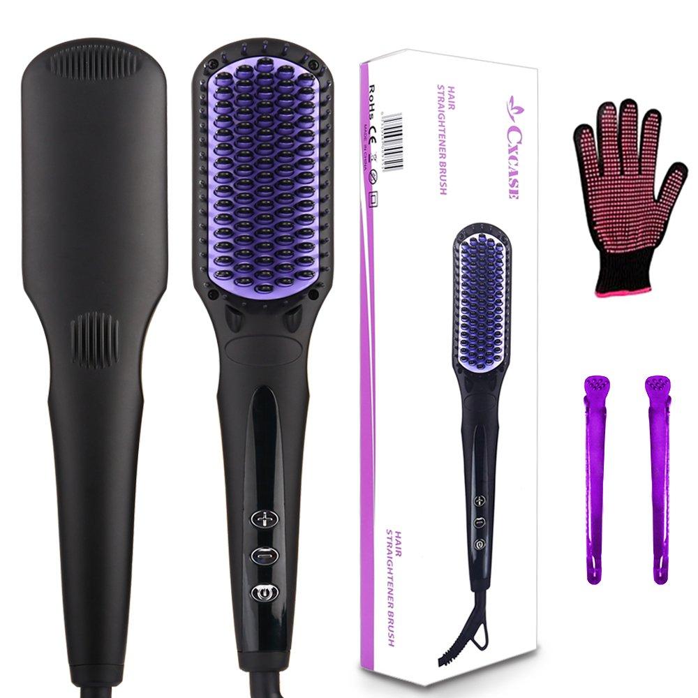 CXCASE Hair Straightener Brush MCH Ceramic Fast Heating with Heat Resistant Glove, Temperature Lock Function, Adjustable Temperature, Anti-Scald Ionic Hair Brush - Black
