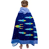 Wowelife Hooded Poncho Towel Rocket Blue, 100% Cotton Beach Towels for Boys, Ultra Soft and Super Absorbent 31 x 63 Inch(Blue Rockets)