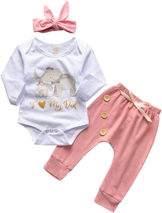 3PCS Baby Infant Toddler Girl Elephant Romper+Pant+Headband Outfits Clothes Set