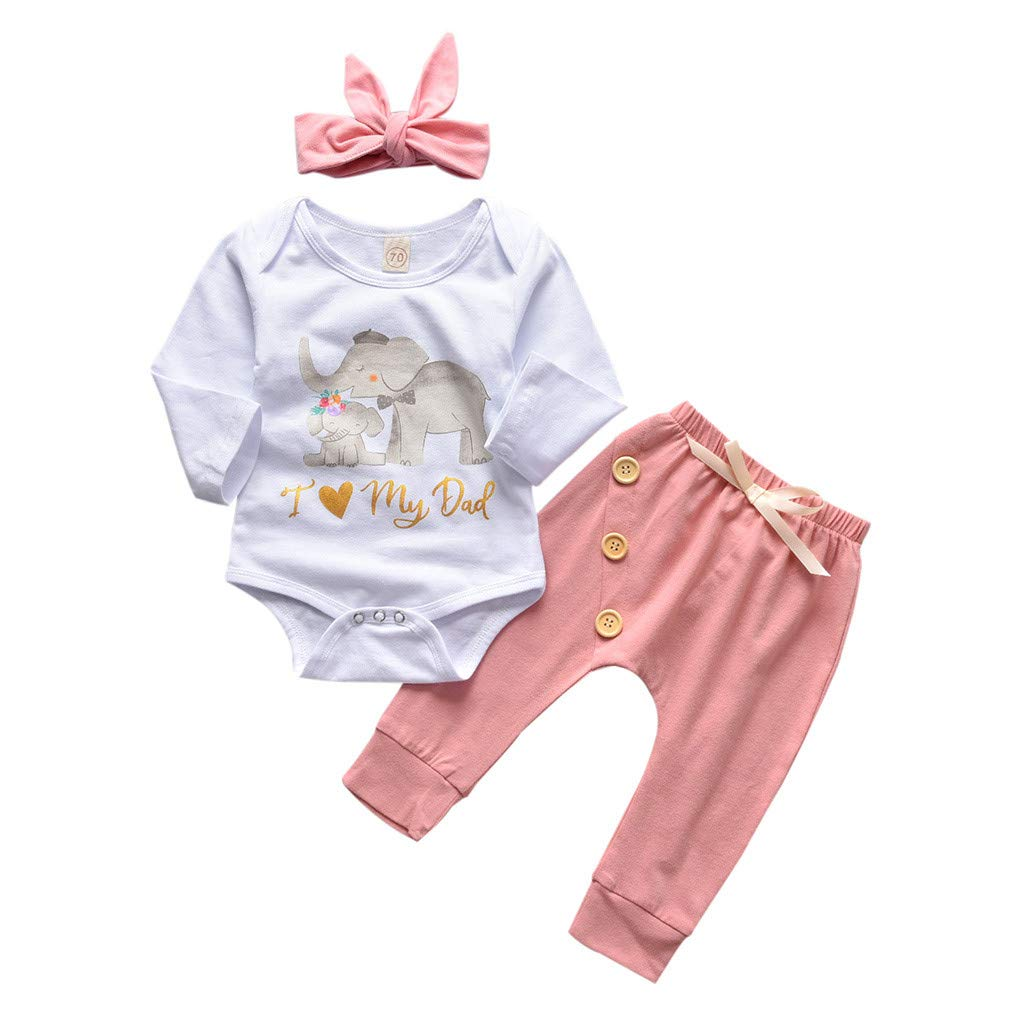 White,12-18 Months Goldweather 3PC Toddler Baby Boys Girls Outfit Set Cartoon Elephant Print Ruffle Romper Bodysuit Halen Pants Knotted Hairband Clothes
