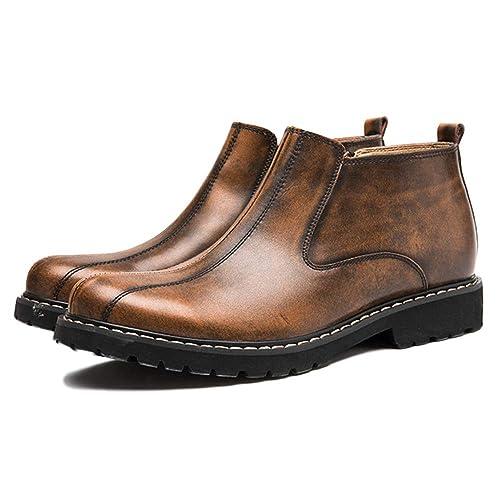 Botas Chelsea Hombres Negro Cuero Oxblood Desierto Brogue Clásico Martin Botas Botines De Cuero Retro Zapatos De Tacón Alto: Amazon.es: Zapatos y ...