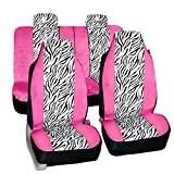 zebra pink car accessories - FH GROUP FH-FB121114 Zebra Prints Car Seat Covers, Airbag ready and Split Bench, Pink / White color