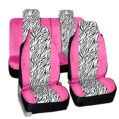 FH GROUP FH-FB121114 Zebra Prints Car Seat Covers, Airbag ready and Split Bench, Pink / White (Pink Zebra Cover)